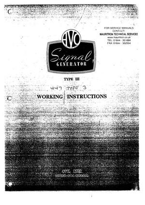 Avo Type 3 Signal Gen Instruction Manual