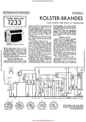 Kolster Brandes MR10 Service Information