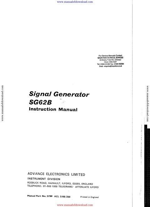 Advance SG62B Instruction Manual