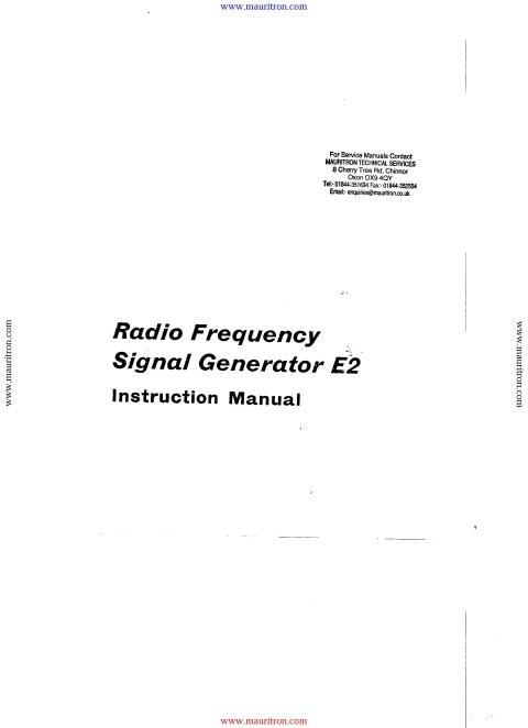 Advance E2 Instruction Manual