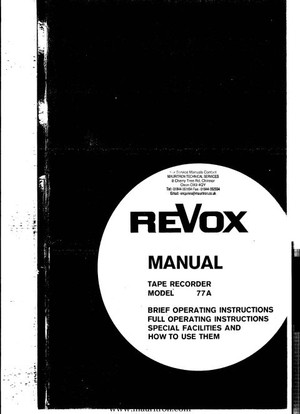 Revox A77 Operating Guide