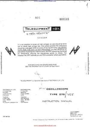 Telequipment D75 Instruction Manual with Schematics