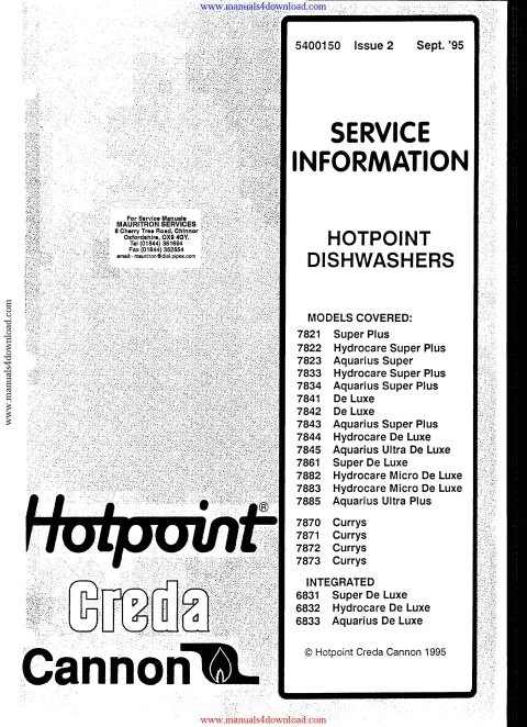 hotpoint 7822 service manual mauritron technical services rh sellfy com  hotpoint dishwasher 7822 manual