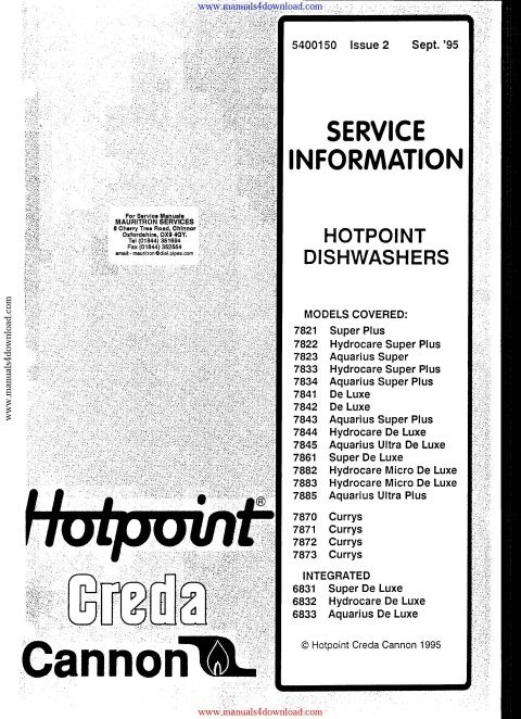 Hotpoint 7822 Service Manual