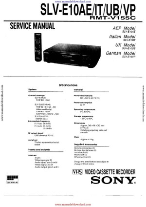 Sony SLVE10UB Service Manual