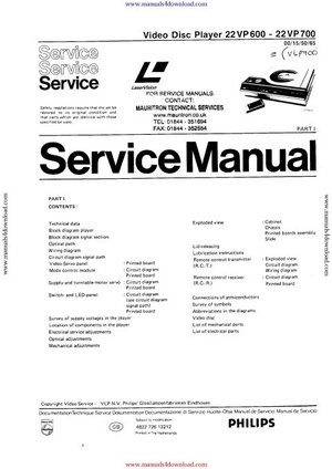 Philips VLP700 Service Manual
