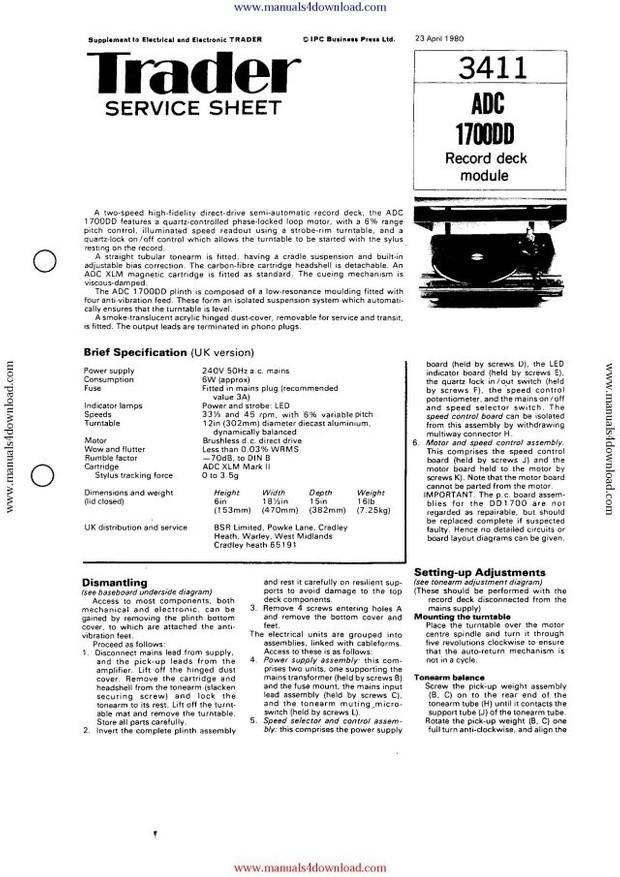 ADC 1700DD Service Schematics