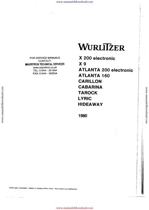 Wurlitzer Atlanta 160 Service Manual