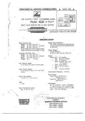 Radiomobile 4201. 4220. Service Manual