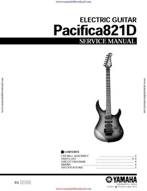Yamaha Pacifica 821D Service Manual