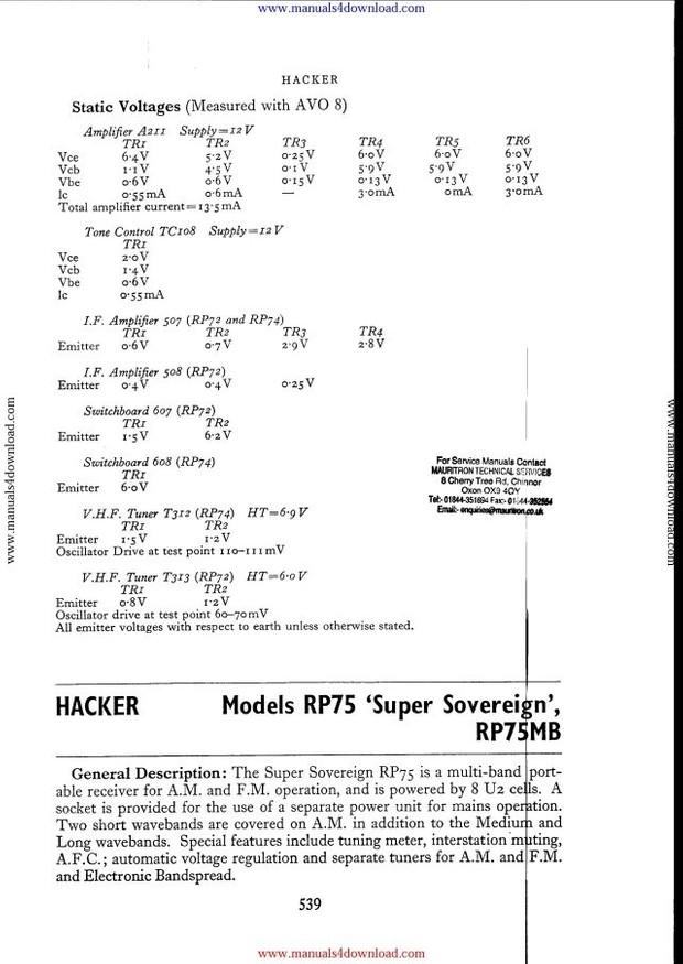 Hacker RP75 Service Manual