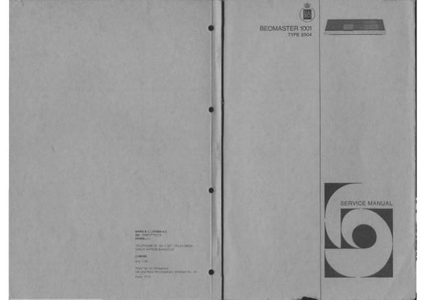 Bang Olufsen 1001 Beomaster 2504 Service Manual