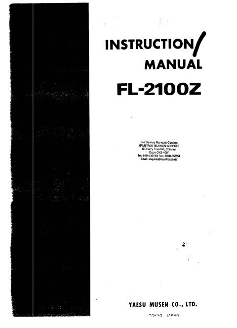 Yaesu FL2100Z Instruction Manual