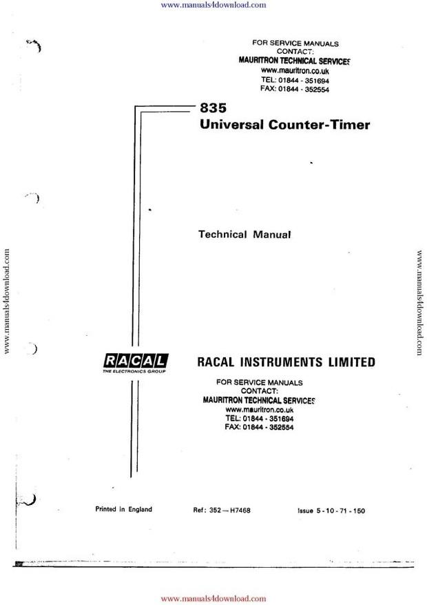 Racal 835 Service Manual