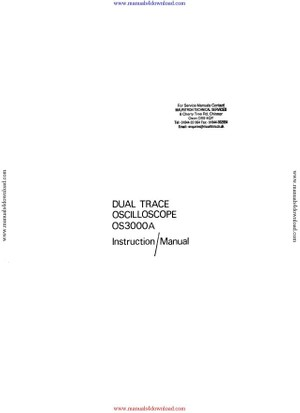 Advance OS3000A Instruction Manual