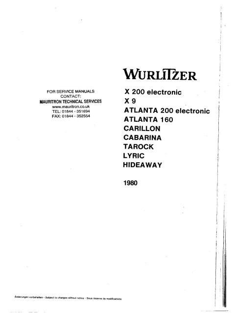 Wurlitzer Carillon Service Manual
