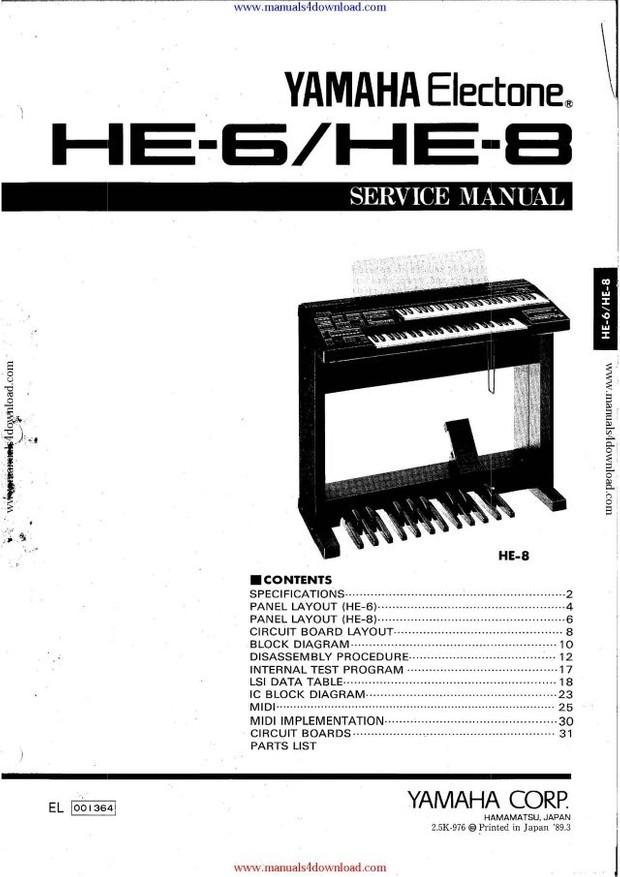 Yamaha HE8 Service Manual