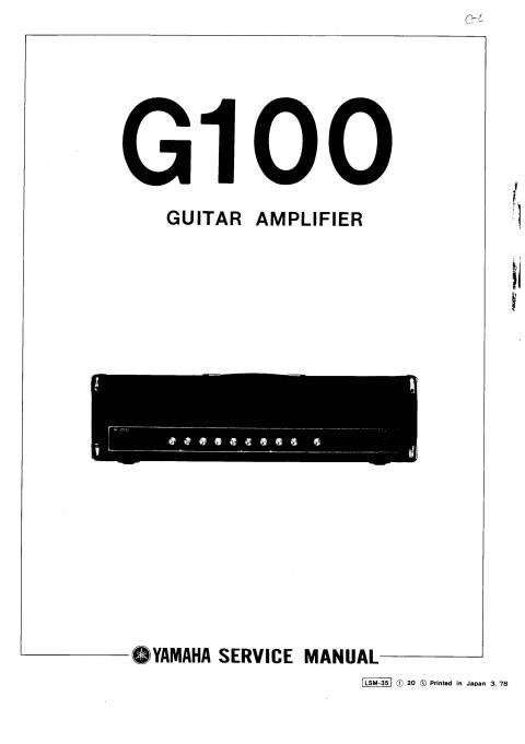 Yamaha G100 Service Manual