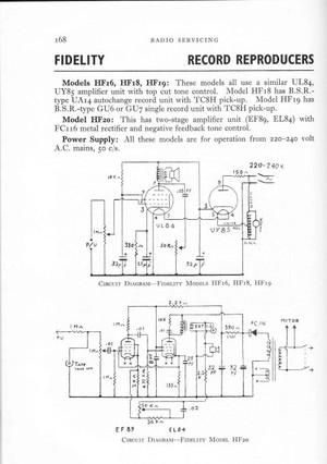 Fidelity HF20 Service Schematics