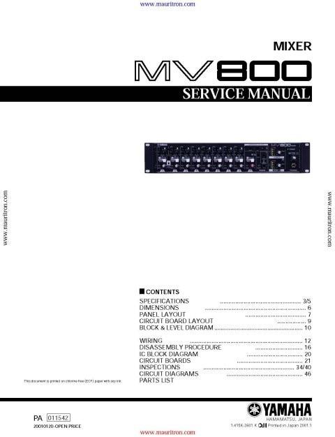 Yamaha MV800 Service Manual