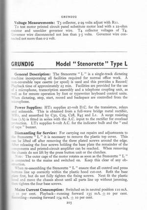 Grundig Stenorette L Service Schematics