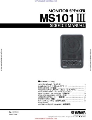 Yamaha MS101 III Service Manual