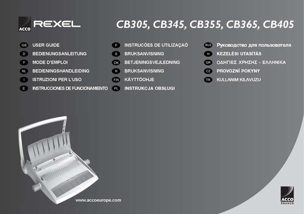 Rexel CB305. CB345. CB355. CB365. CB405 Operating Guide