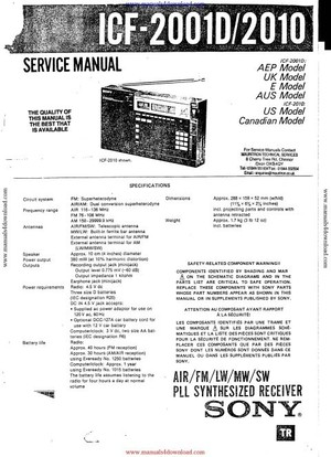 Sony ICF2001D Service Manual