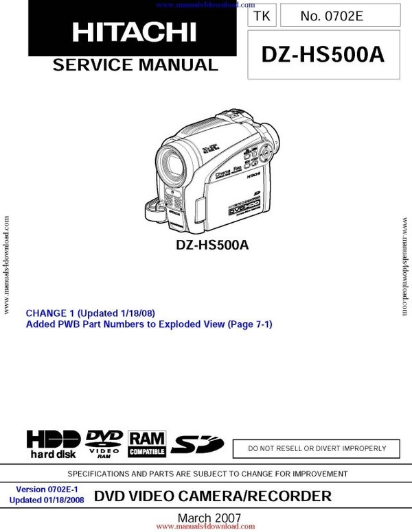Hitachi DZHS500A Service Manual