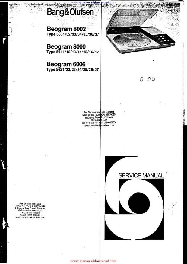 Bang Olufsen Beogram 8002 Service Manual