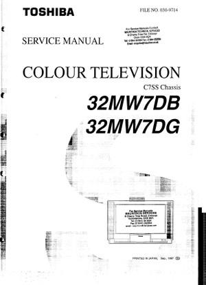 Toshiba 32MW7DB 32MW7DG C7SS Service Manual