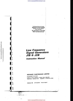 Advance J2 Instruction Manual