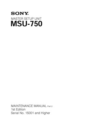 Sony MSU750 Service Manual