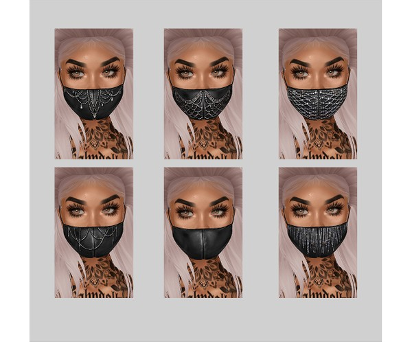 IMVU file sales - leather & rhinestones - masks