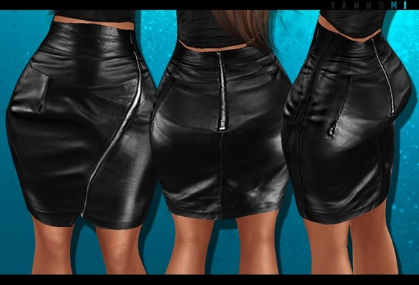IMVU 2018: leather zipped skirt