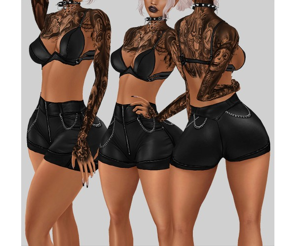 IMVU file sales - LEATHER - mini shorts