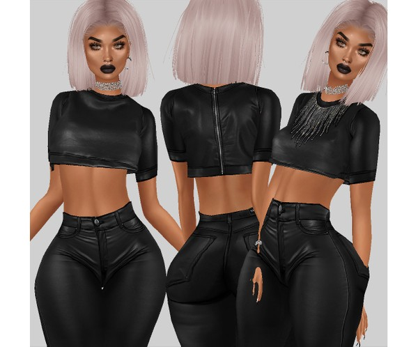 IMVU file sales - leather & rhinestones - loose shirt