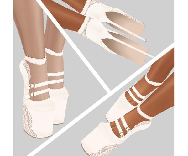 IMVU file sales - lace white platforms