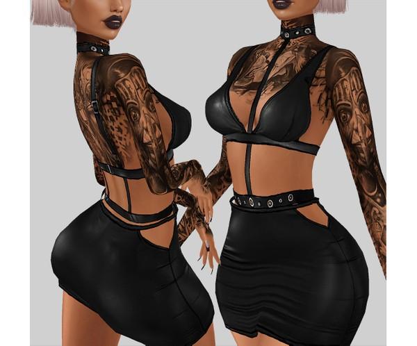 IMVU file sales - LEATHER - cutout dress