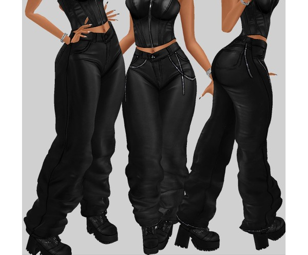 IMVU file sales - leather & rhinestones - baggy bottom