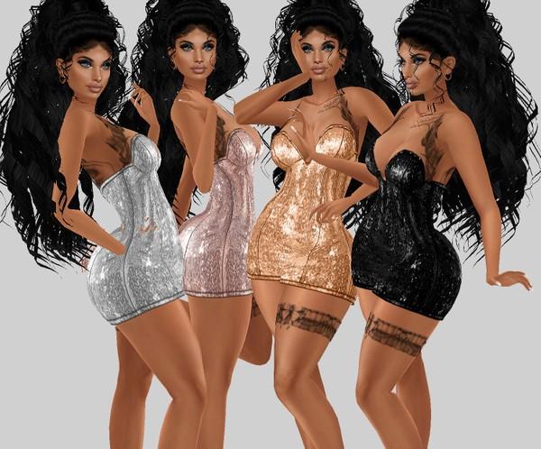 IMVU file sales: sequin and tattoos: busty mini dress