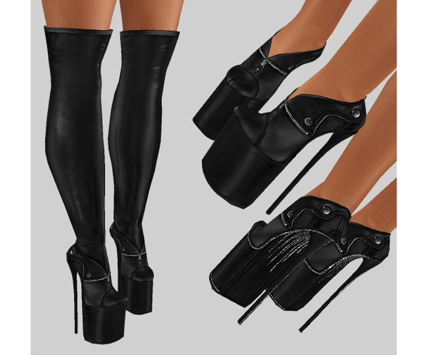 IMVU file sales - leather & rhinestones - booties with stockings