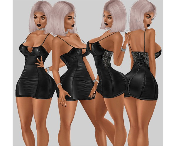 IMVU file sales - leather & rhinestones - busty dress