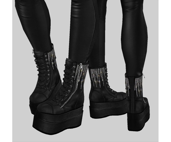 IMVU file sales - leather & rhinestones - wedge platforms