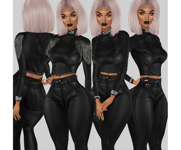 IMVU file sales - leather & rhinestones - turtleneck top