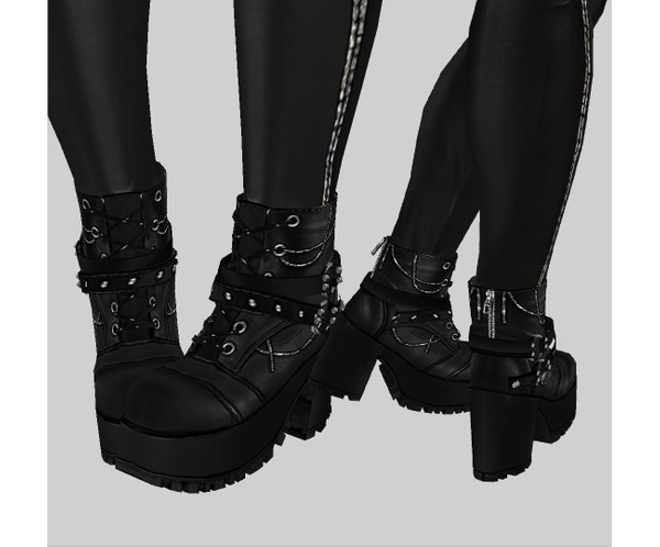 IMVU file sales - leather & rhinestones - buckle boots