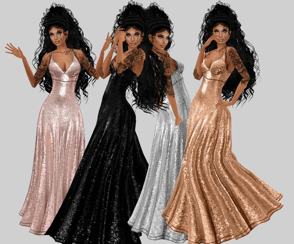 IMVU file sales: sequin and tattoos: gown