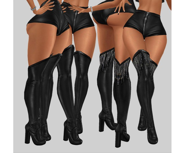 IMVU file sales - leather & rhinestones - sis3d boots