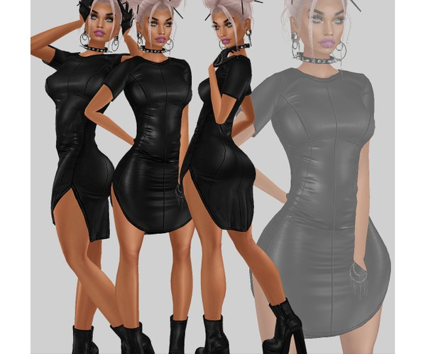 IMVU file sales - LEATHER - t-shirt dress