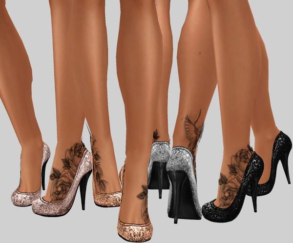 IMVU file sales: sequin and tattoos: sis3d heels